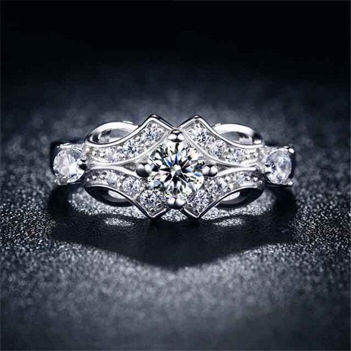 1b6729682465 Shuangr moda color plata joyería para las mujeres CZ ZIRCON joyería de  compromiso de boda MIDI mujer anillos bijoux bague