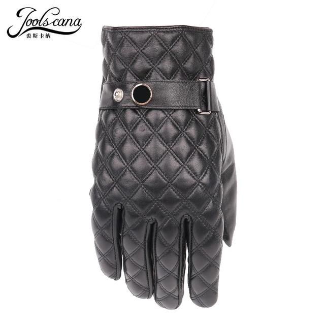 JOOLSCANA leather gloves for men winter gloves sheepskin touch screen tartan wrist mitten autumn drive Tactical Outdoor