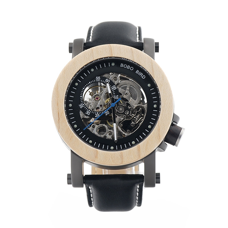 2017 New Brand BOBO BIRD Men Watches Mechanical Watch Genuine Leather Band Wood Wristwatch relogios masculinos B-K14
