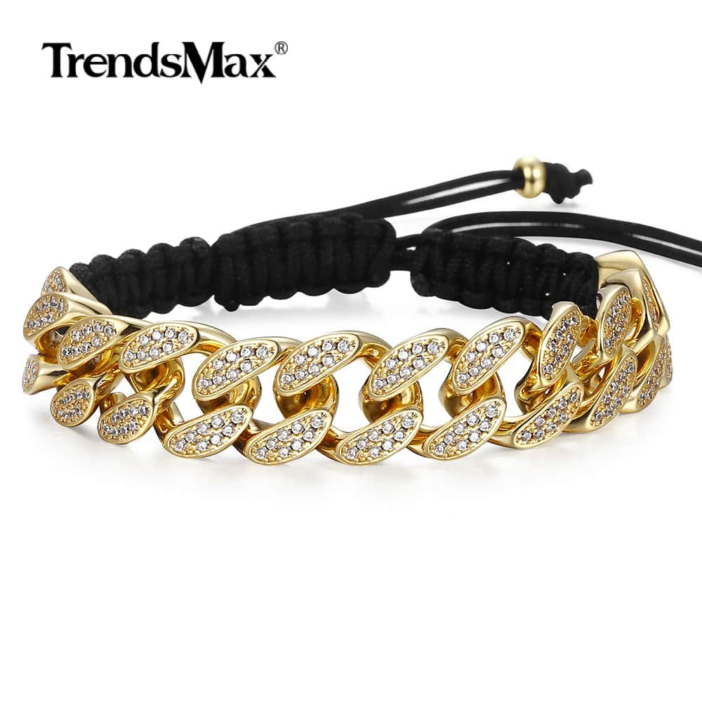 Paved Crystal CZ Cuban Chain Braided Leather Bracelet Mens Womens Stone Copper Rose Gold Black Gold Adjustable Bracelets GBM104 in Chain Link Bracelets from Jewelry Accessories