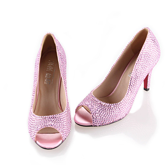 Handmade full rhinestone diamond sweet pale pink woman heels bridal wedding party pumps evening banquet shoes small big size