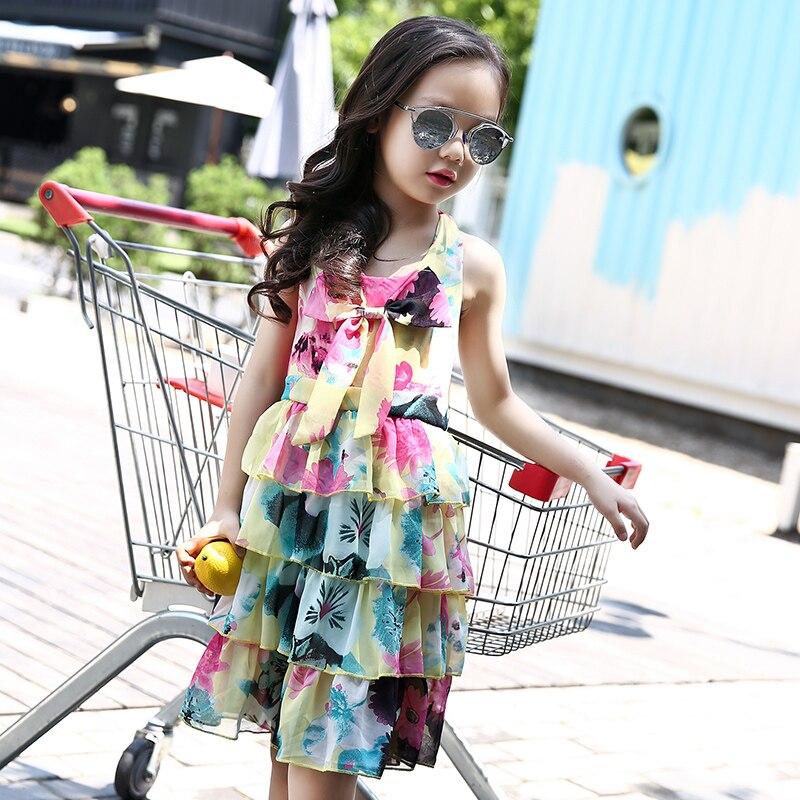 Robe de plage pour filles 4-13 ans Floral enfants robes en mousseline de soie vêtements pour adolescentes été petite robe de princesse enfant en bas âge fille vêtements