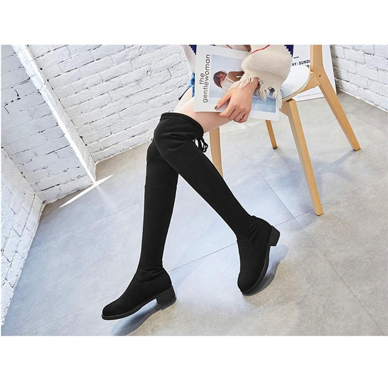 Stivali Nuovo Metà Solide Autunno Stile Scarpe Tacco Rotonda Donne Elastici Il Di Inverno H138 Nero Delle Colore E Testa Cashmere cBqqAI