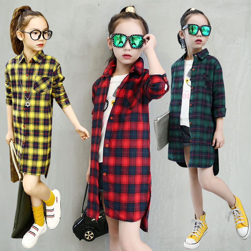 5-16T Autumn Girls Long Plaid Shirt Girls Clothes Teenage School Girl Shirts for Girls Blouse Children Plaid Blouse Kids Clothes girl