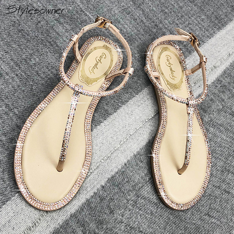 Stylesowner Summer New Rhinestone Womens Sandals Bing Bling Fashion Sandals Roman Flat Sandals Women Glittering ShoesStylesowner Summer New Rhinestone Womens Sandals Bing Bling Fashion Sandals Roman Flat Sandals Women Glittering Shoes