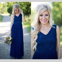 Beautiful Long Chiffon Bridesmaid Dress V Neck Zipper Back Floor Length Navy Blue Lace Formal Women Gown