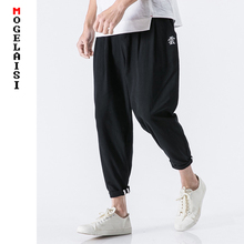 Fashion summer linen pants men Chinese style flax cotton Harem Ankle Length Pants black Embroidery Text yun Trousers B375-DK14