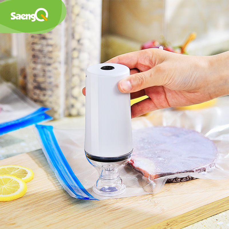saengQ Handheld Food Vacuum Sealer Packaging Machine Film Container USB Sealer Vacuum Packer With 5 or 10pcs Vacuum Zipper Bags
