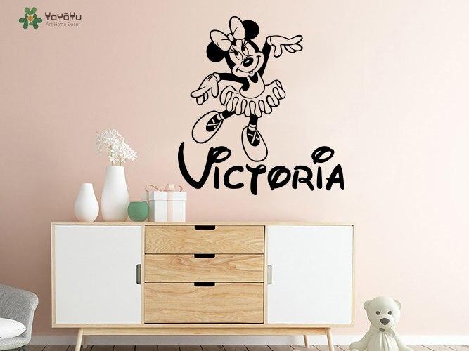 US $5.95 30% OFF|YOYOYU Minnie Maus Wandaufkleber Personalisierte Name  Vinyl Wandtattoo Gilrs Name Kinder Schlafzimmer Tier Cartoon Kunstwand ...