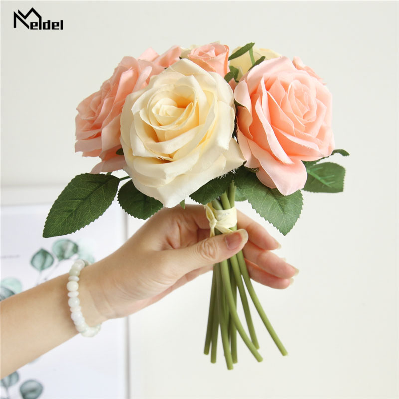 Meldel Wedding Bouquet Bridal Silk Rose Flowers Bridesmaids Holder Wedding Bouquets Artificial Accessories Home Wedding Supplies