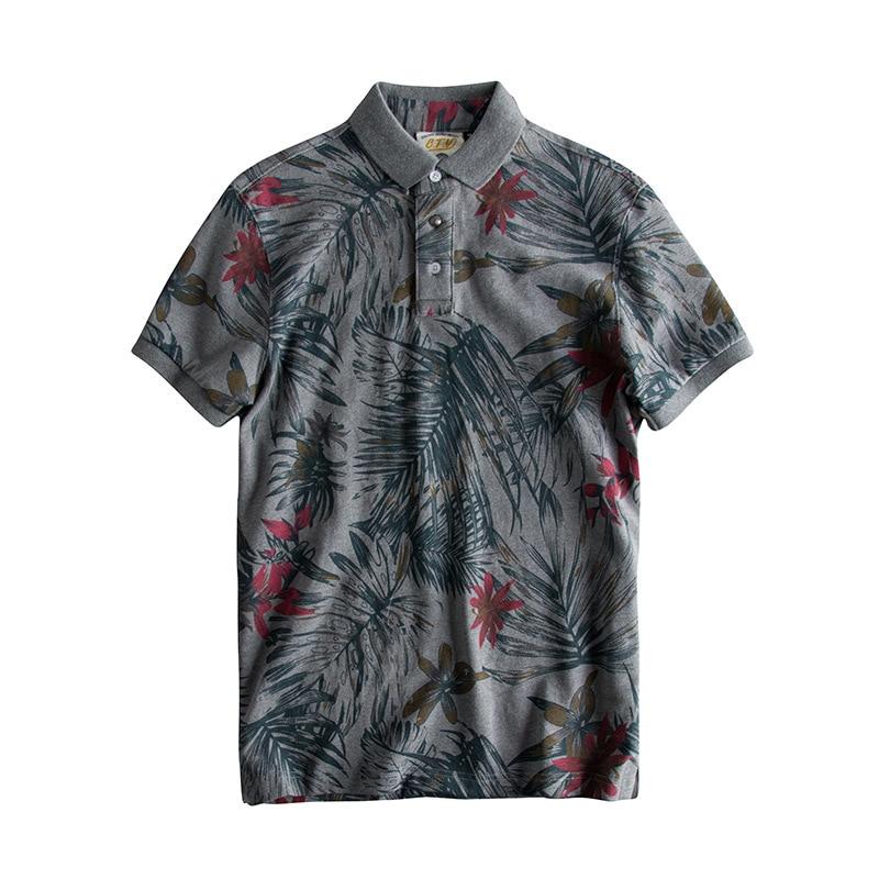 Floral Print Hawaiian Fashion Cotton Men   Polo   Shirt