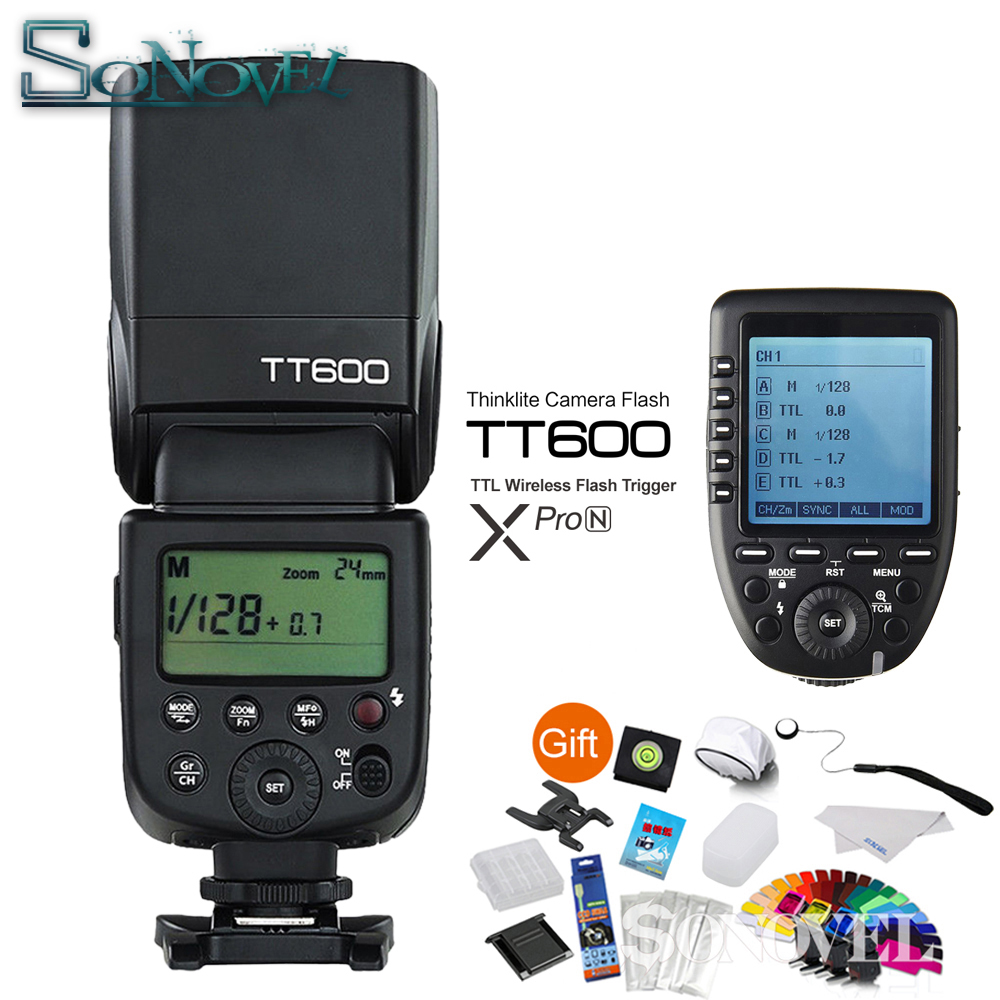 Godox TT600 GN60 HSS 1/8000s Camera Flash Speedlite + 2.4G Wireless X System Xpro-N Transmitter For Nikon D850 D810 D500 D750 D5 meike mk d750 battery grip pack for nikon d750 dslr camera replacement mb d16 as en el15 battery