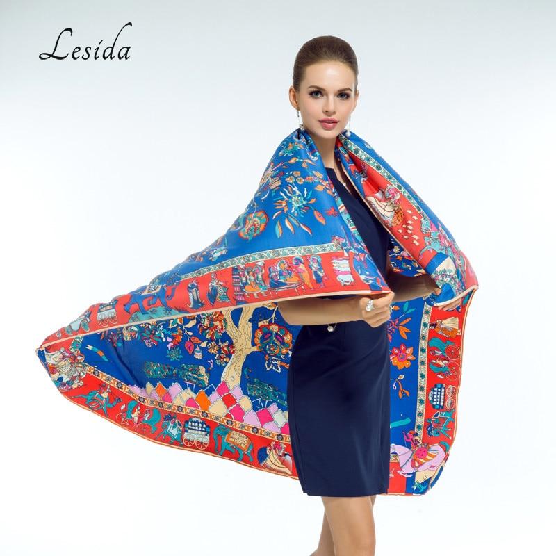 LESIDA Pañuelo de Seda Pura Mujeres Grandes Chales Estoles Árbol - Accesorios para la ropa - foto 3