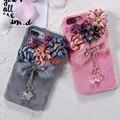 Flores de cristal de lujo de peluche peludo peludo caso para iphone 7 6 6 s más peluda cubierta dura para iphone 6 6 s 7 más caso retro Coque
