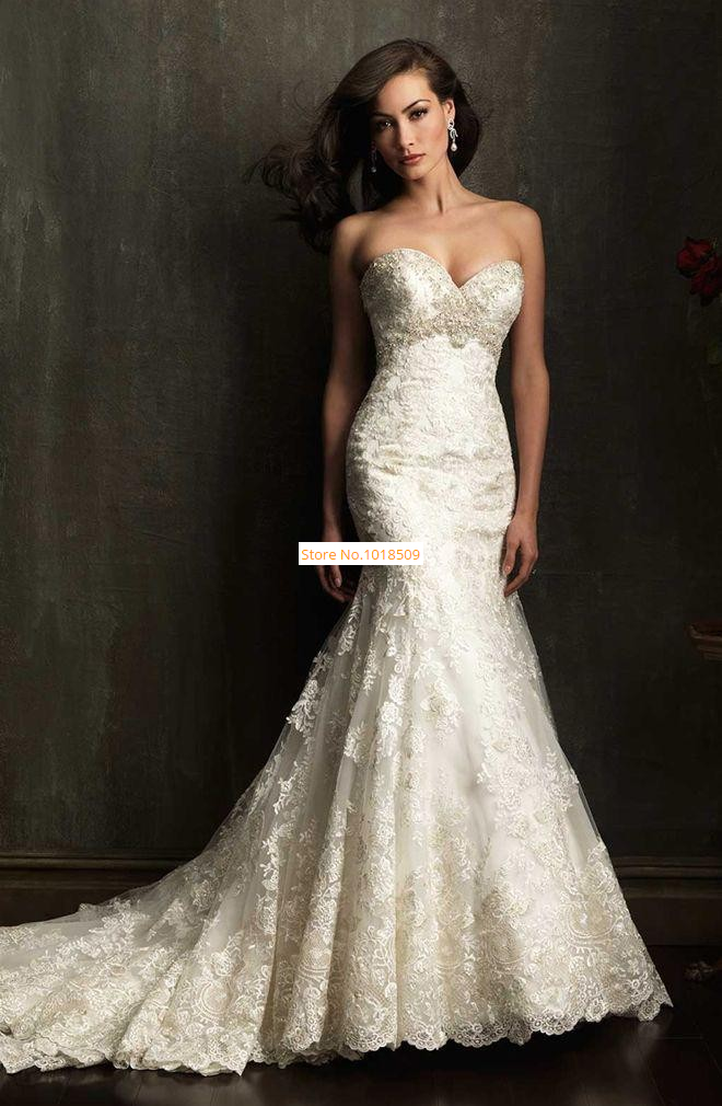 Vintage Lace Mermaid 2015 Backless Wedding Dresses Sweetheart Sleeveless Beading Appliques Sweep Train Bridal Gown