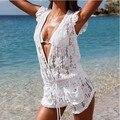 Trajes de Ropa de playa verano de las mujeres cordón de la manera Cortocircuitos Del Mono v-cuello atractivo ahueca hacia fuera crochet floral mamelucos monos blancos