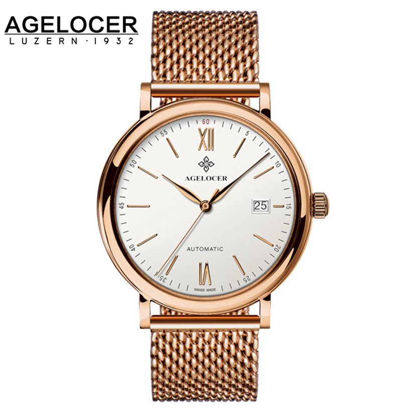 Switzerland Agelocer Top Brand Automatic Watches Men Luxury 18K Gold 316L Steel Mesh Watch With Date Clock Man relogio masculino mce top brand mens watches automatic men watch luxury stainless steel wristwatches male clock montre with box 335