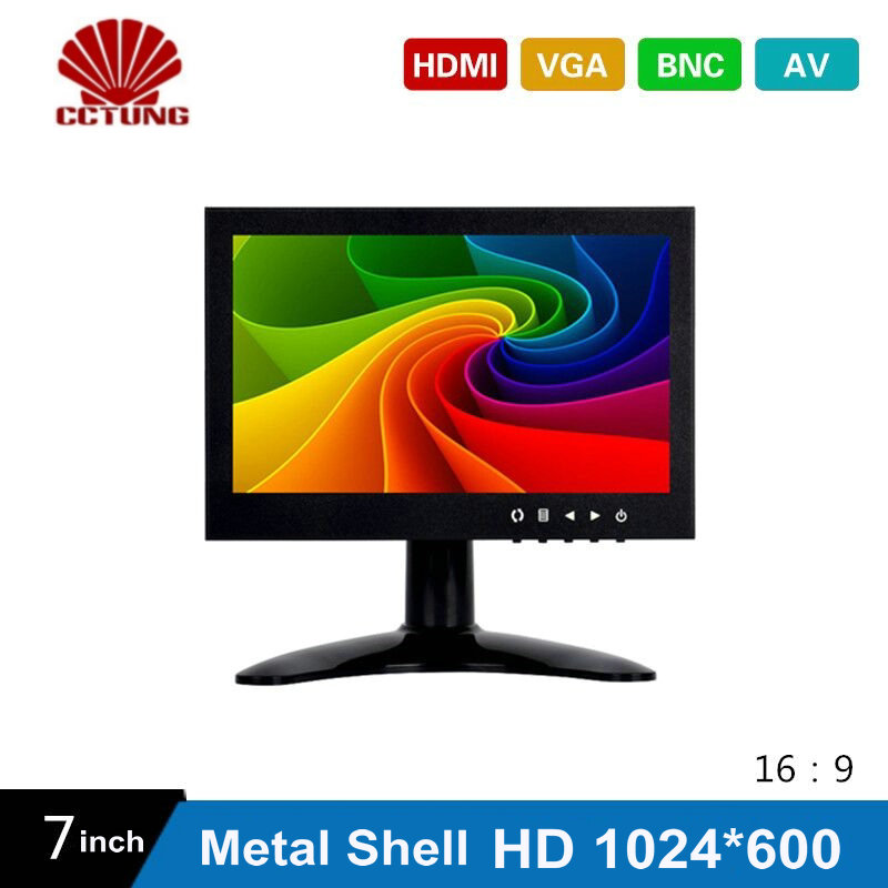 7 Inch HD CCTV TFT-LED Monitor with Metal Shell & HDMI VGA AV BNC Connector for PC & Multimedia & Donitor Display & Microscope zgynk 10 1 inch open frame industrial monitor metal monitor with vga av bnc hdmi monitor