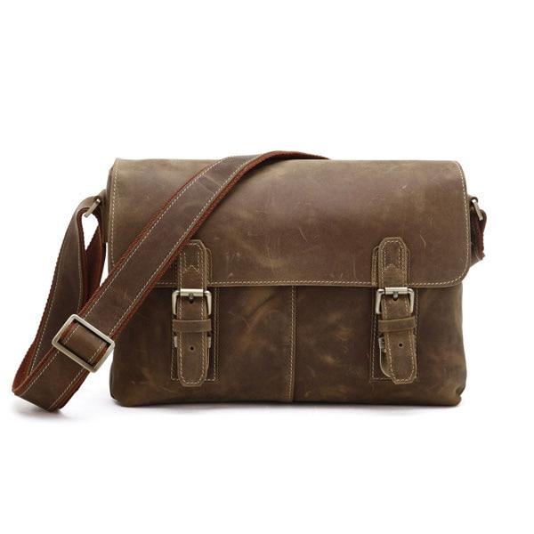 Augus Crazy Horse Leather Bag Men's Shoulder Bag Hot Selling Classic Vintage Messenger Top Quality Crossbody Bag Brown 6002B
