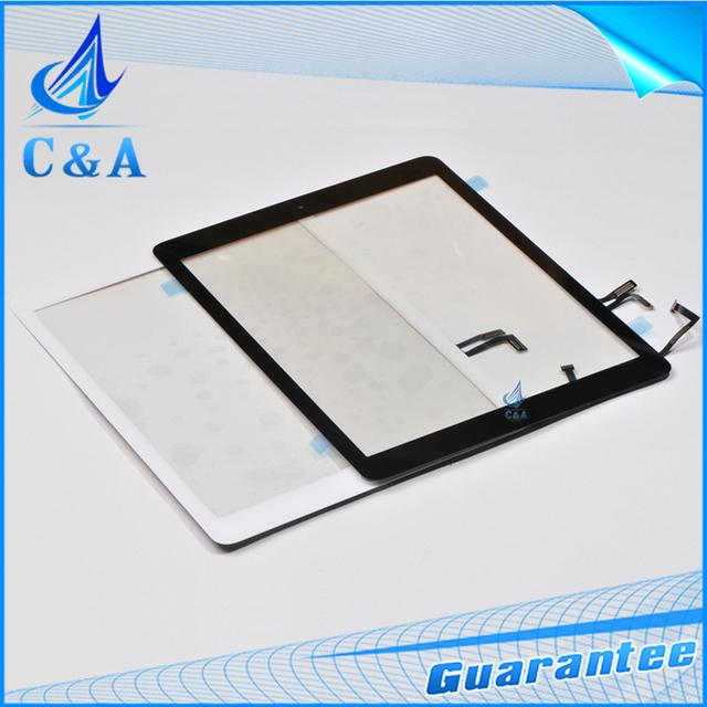 1 unidades envío gratis piezas de repuesto para el iPad aire 5 5th pantalla táctil digitalizador frontal + home + flex cable