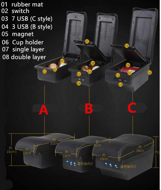 สำหรับKia Rio 4 X-Lineกล่องCentral Storeเนื้อหากล่องเก็บKIA Armresrtถ้วยAshtrayผลิตภัณฑ์อินเทอร์เฟซUSB