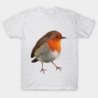 2017 New Fashion Funny Brand Clothing Men T Shirt Short Sleeve Bird 3D Cute Robin Printed