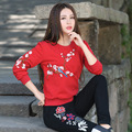 Autumn Loose Embroidery Flowers Ethnic Tops Spring New Fashion Women Casual Long Sleeve Cotton T Shirt Tees