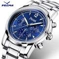 Prema azul designer de moda casuais homens de aço inoxidável relógio de quartzo New Big Dial Data Mens Relógios Top Marca de Luxo Relógio relógio