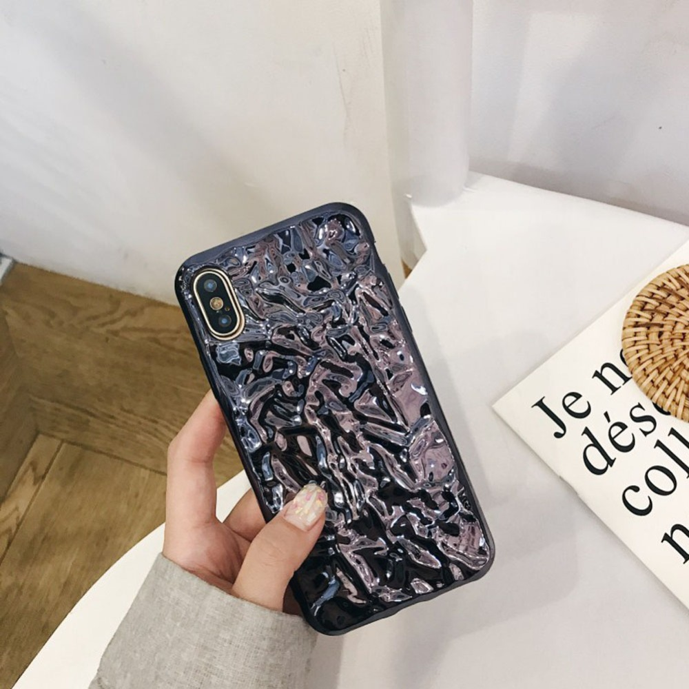official photos d0803 9cae0 US $7.59 5% OFF|FACEVER Hot instagram Chrome Pleated Foil Phone Case For  iPhone X 10 6 6s 7 8 Plus 3D Shiny Colorful Plating Silicone Cover-in  Fitted ...