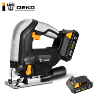DEKO 20V Cordless Jig Saw LED light Adjustable Speed Electric Saw with 6 Pieces Blades, Metal Ruler, Allen Wrench