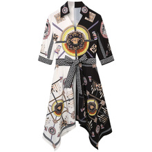 Summer Women Chinese Wind Slim Temperament Retro Printed Chiffon Dress