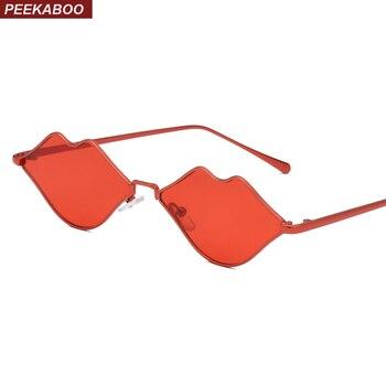 Peekaboo lábio vermelho óculos de sol das mulheres pequeno quadro 2019 amarelo rosa óculos de sol do vintage feminino presente da festa de moda uv400 metal frame