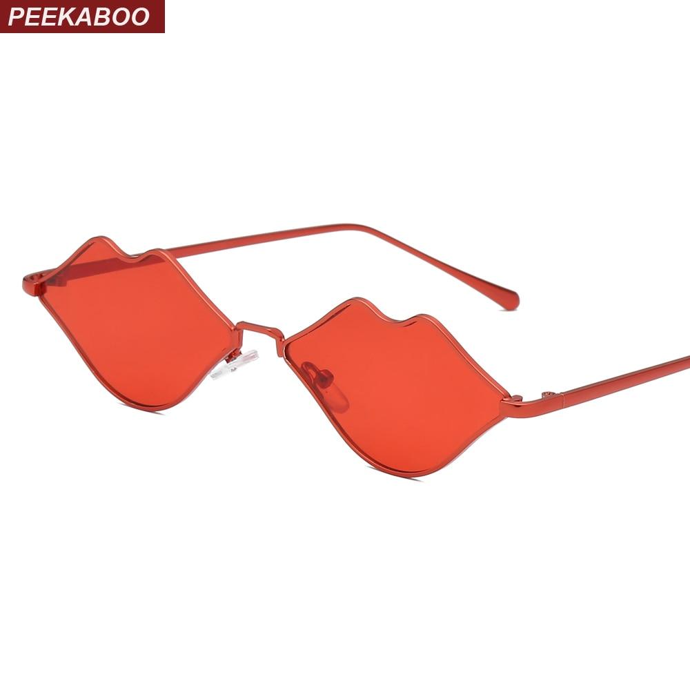 Peekaboo red lip sunglasses women small frame 2019 yellow pink vintage sun glasses female fashion party gift uv400 metal frame