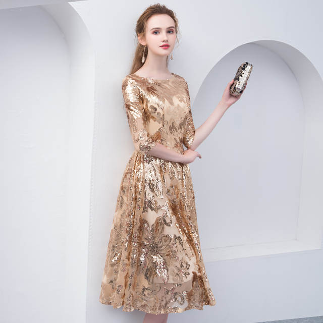c141cbdca802e US $49.0 30% OFF|weiyin Robe De Soiree Gold Evening Dresses 2019 Short  Sleeves Elegant Zipper Evening Gowns Tulle with Sequins WY799-in Evening ...