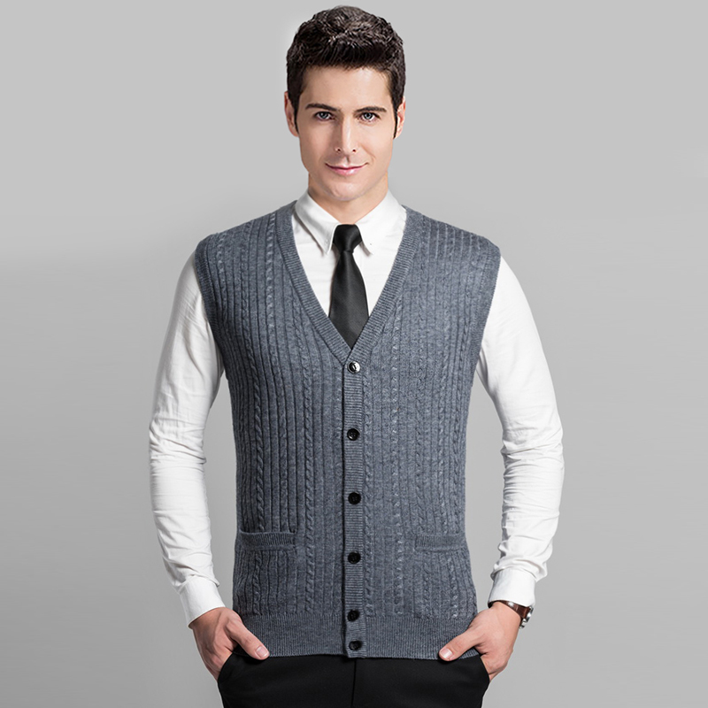 2016 Latest Style Autumn Fashion Twisted Pattern Mens Sleeveless V,Neck Cardigan Sweater Vest(