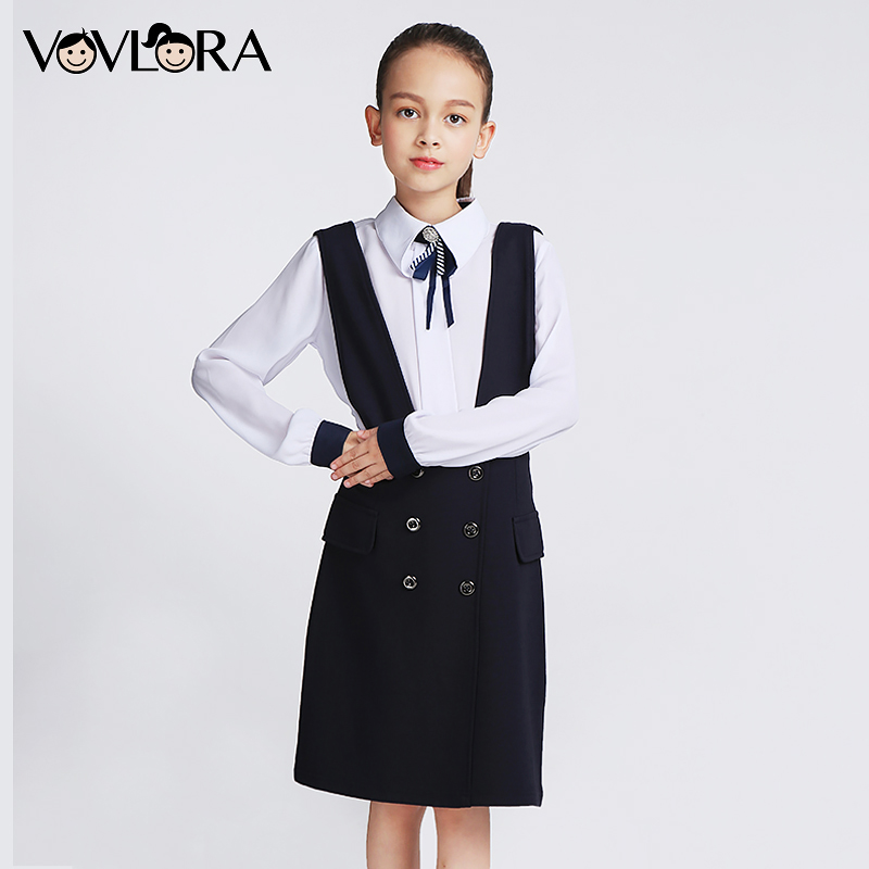 VOVLORA 2017 Girls Dresses Hot Sale Dark Blue Sleeveless Square Collar Overalls Dress Kids Girls Back School clothes Plus Size dark blue doll collar pleated dress