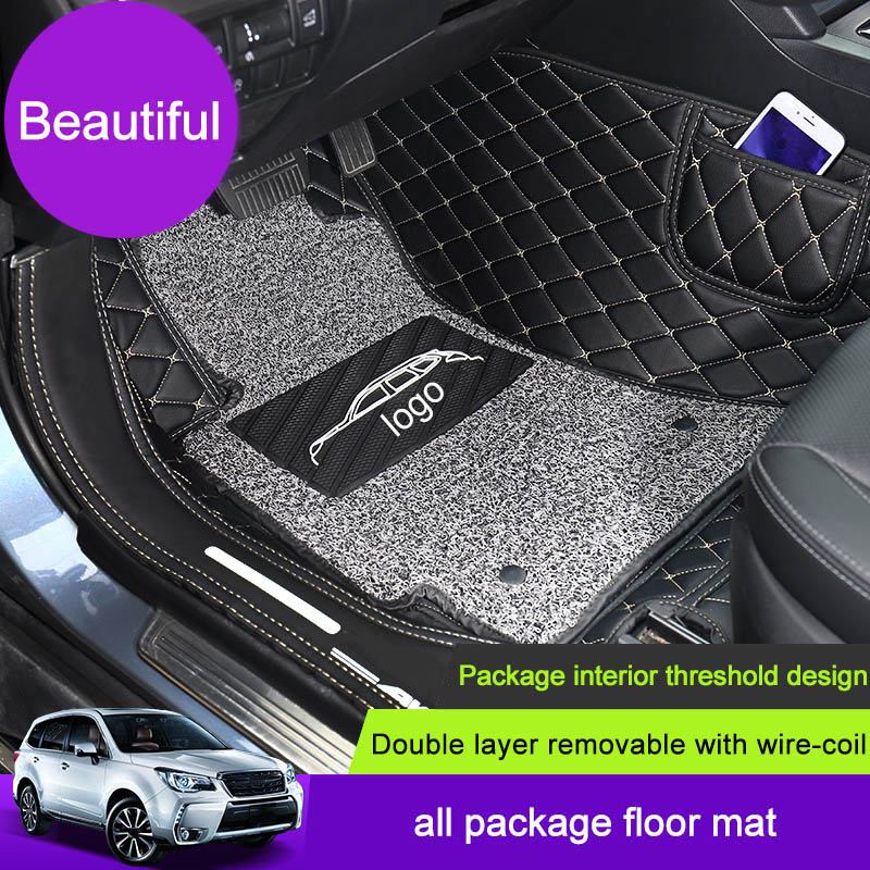 QHCP cuir voiture pu Pied Étage Fil Tapis Surround Pour Subaru Forester XV Héritage Outabck 2015 2016 2017 2018 tapis de voiture Accessoire