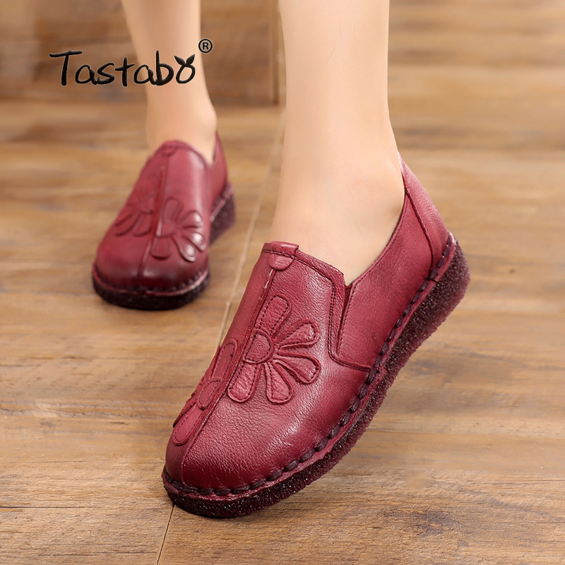 Tastabo Casual Genuine Leather Flat Shoe for Women Flower Slip On Driving Shoe Female Moccasins Flats Lady Pregnant Women Shoes цена