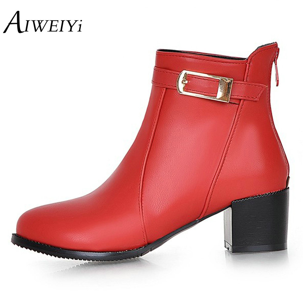 AIWEIYi Square High Heeled Shoes Woman Round toe Buckle Design Autumn Winter Women Ankle Boots Botas