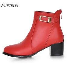 Aiweiyi/квадратный обувь на высоком каблуке женщина круглый носок Пряжка Дизайн Осенне-зимние женские ботильоны Botas Обувь Для женщин Туфли-лодочки