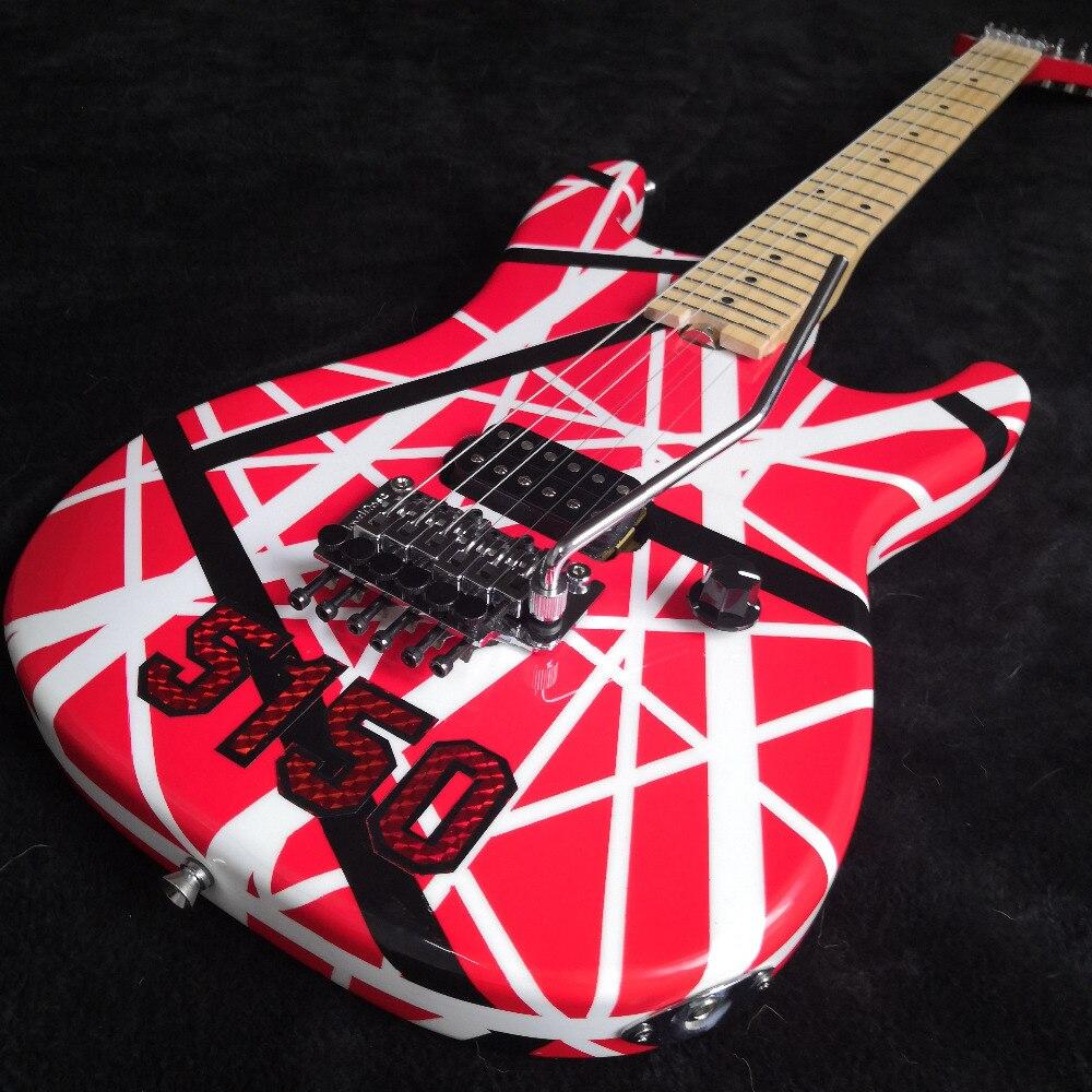 5150 rayé série rouge/noir/blanc, touche en érable, Floyd Rose verrouillage Tremol Wolfgang Eddie Van Halen style guitare