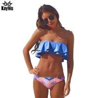 KayVis Ruffle Bikinis Women Swimsuit Push Up Swimwear Women 2017 Sexy Bandeau Print Brazilian Bikini Set