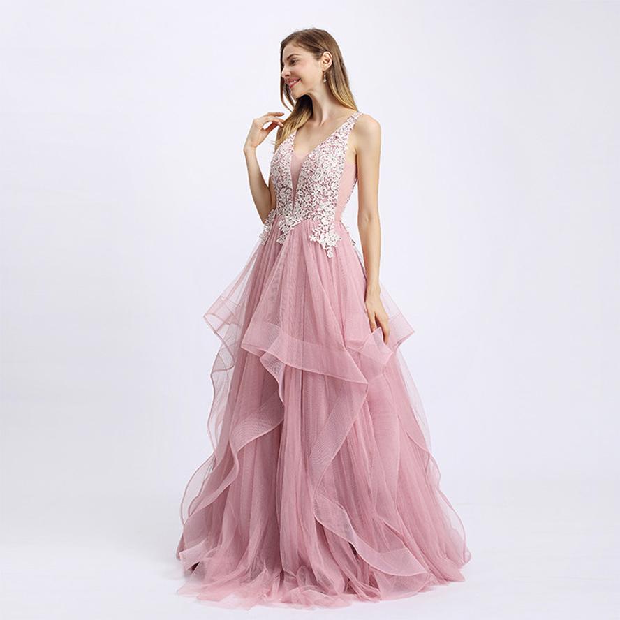 Sexy Backless Pink Long Evening Dresses Banquet Party Dress