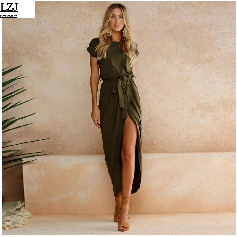 LZJ Dinner Club Vestito Elegante 2017 delle nuove donne Vestidos Vestito De Festa Vestito delle Donne Maxi Vestito Irregolare più il formato XL jkmy1