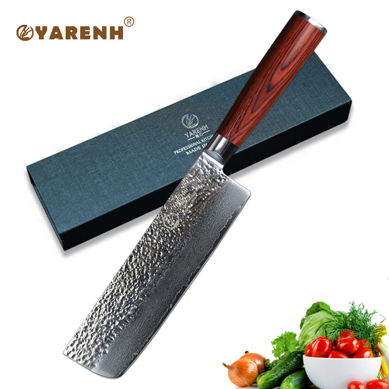 YARENH Damascus nakiri vegetable knife professnalSlicing Knife bestchef knife Japanese VG10 sharp kitchen knives cooking tools