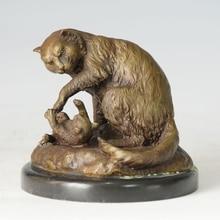ATLIE BRONZES  Statue Animal Bronze Cat Figurine House Decoration CHINESE COPPER Lost Wax Brass Pet sculpture