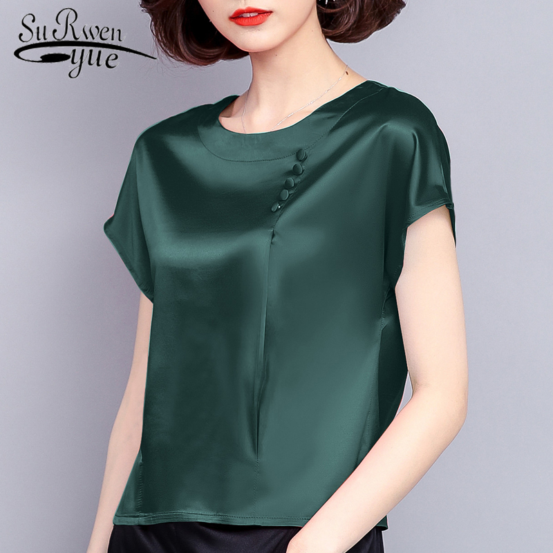 Silk Women Blouse Short Sleeves Shirt 2019 New Fashion Summer Clothing Women Tops Solid Casual O-neck Female Blouses 0425 40