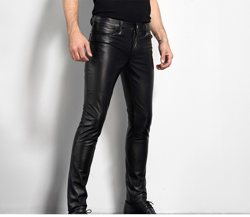 Men's Leather Pant Biker Pants Motorcycle Punk Rock Pants Tight Gothic Leather Pants  Slick Smooth Shiny Trousers Sexiest TJ01 24