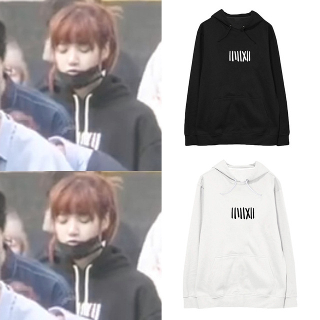 Kpop Blackpink Lisa Same Paragraph Hooded Sweatshirts Loose Student