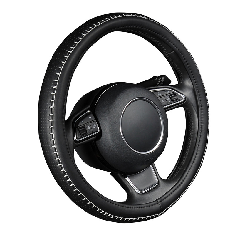 PU Faux Leather Steering Wheel Cover Black Pattern With Anti-Slip White Durable Sewing Thread M Size fits 38cm/15